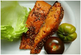 Fatty fish a good source of Omega-3 for healthy hair growth.